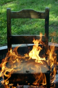 "A chair on fire... metaphor ""In The Hot Seat"""